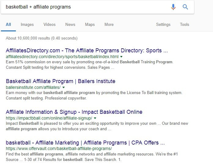 Finding Affiliate Programs in a Niche
