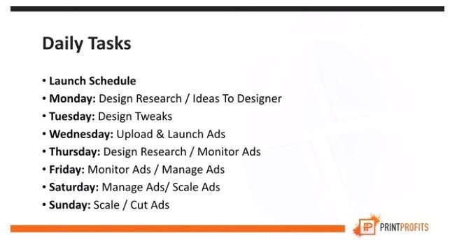 Print Profits Course Daily Tasks