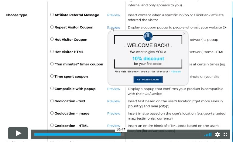 Repeat Visitor Coupon Pop-up Widget