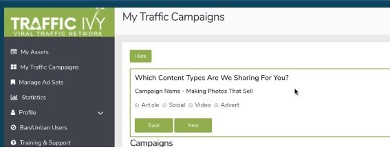 How To Setup Campaigns On Traffic Ivy