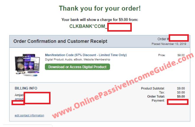 Manifestation Code System Order Receipt