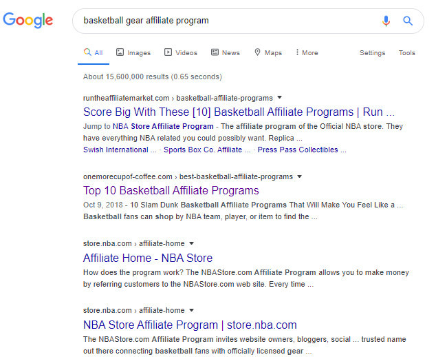 Step 2 - Finding Affiliate Programs With Google